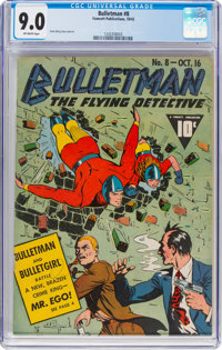 Bulletman #8 (Fawcett Publications, 1942) CGC VF/NM 9.0 Off-white pages