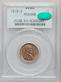 1919-S 1C MS64 Red and Brown PCGS. CAC. PCGS Population: (246/46). NGC Census: (108/23). CDN: $255 Whsle. Bid for proble...