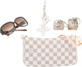 Luxury Accessories:Accessories, Louis Vuitton Set of Five: Damier Azur Pochette, Silver Keychains & Sunglasses. Condition: 1. See Extended Condition R... (Total: 5 Items)