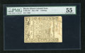 Colonial Notes:Rhode Island, Rhode Island May 1786 1s PMG About Uncirculated 55. Superb originalembossing comes boldly impressed on this low denominatio...