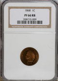 Proof Indian Cents: , 1868 1C PR66 Red and Brown NGC. Copper-tan surfaces exhibit a cameo effect on the obverse. Sharply impressed, and no mentio...