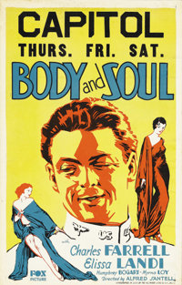 "Body and Soul (Fox, 1931). Window Card (14"" X 22""). Back in the ""good ole days"" of movie poster coll..."