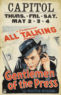 "Movie Posters:Drama, Gentlemen of the Press (Paramount, 1929). Window Card (14"" X 22"").Watch this film if you're a workaholic. Because he is wor..."