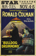 "Movie Posters:Adventure, Bulldog Drummond (United Artists, 1929). Window Card (14"" X 22"").Filmed in the earliest days of the ""talkie"" era, Bulldog D..."