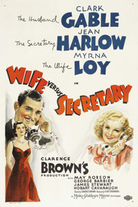 """Wife vs. Secretary (MGM, 1936). One Sheet (27"""" X 41""""). Legendary comedienne Jean Harlow is paired with her fav..."""