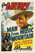 "Movie Posters:Western, The Man From Music Mountain (Republic, 1938). One Sheet (27"" X 41""). Unscrupulous land investors are trying to cheat the tow..."