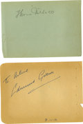 Movie/TV Memorabilia:Autographs and Signed Items, Thomas Mitchell and Edmund Gwenn Autographs. A pair of autographalbum pages signed by Mitchell and Gwenn in pencil and blue...(Total: 1 Item)