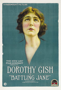 """Battling Jane (Paramount, 1918). One Sheet (27"""" X 41""""). Dorothy Gish is a drifter who finds and adopts an aban..."""