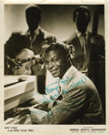 "Music Memorabilia:Autographs and Signed Items, Nat King Cole Signed Photo. A b&w 8"" x 10"" promo photoinscribed and signed by Cole in green ink. In Fine condition with ah..."
