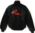 Music Memorabilia:Costumes, Kiss Animalize Tour Jacket Signed by Bruce Kulick. A black nylon jacket from Kiss' 1984 Animalize Tour, size large, signed ...