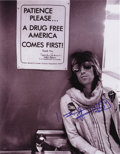 """Music Memorabilia:Autographs and Signed Items, Rolling Stones Related - Keith Richards Signed Photo. A greatvintage b&w 11"""" x 14"""" photo of Richards signed by him in blue..."""
