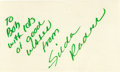 """Movie/TV Memorabilia:Autographs and Signed Items, Gilda Radner Autograph. A 3"""" x 5"""" notecard inscribed and signed byRadner in green felt tip. In Excellent condition. Accom..."""