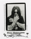 "Movie/TV Memorabilia:Autographs and Signed Items, Ozzy Osbourne Signed Photo. A b&w 8"" x 10"" photo of Osbourne,circa 1995, signed by him in black marker. In Excellent condit..."
