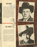 Music Memorabilia:Autographs and Signed Items, Sons of the Pioneers Autographed Program. a 16-page souvenirprogram book signed on the front cover by singer/actor Ken Curt...