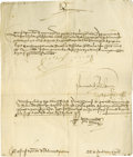 "Autographs:Non-American, Queen Isabella of Spain Document Signed ""Yo La Reina"", onepage, 8.5"" x 10.25"", Granada, May, 1502, in Spanish ordering ..."