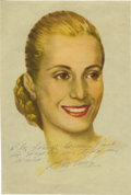 "Autographs:Non-American, Eva Peron- Large Color Portrait Inscribed and Signed, 8.75"" x 13"".Argentina's most notable first lady smiles broadly here l..."