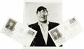 "Music Memorabilia:Autographs and Signed Items, Louis Prima Signed Photo and Envelopes. A b&w 8"" x 10"" photoinscribed and signed by Prima in blue ink, plus two first day c..."