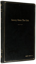 "Movie/TV Memorabilia:Memorabilia, Sammy Davis Jr. Annotated ""Sammy Meets the Girls"" Script.Leatherbound, 32-page script for the 1960 TV special, withDavis'..."