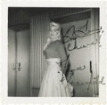 "Movie/TV Memorabilia:Autographs and Signed Items, Jayne Mansfield Signed Photo. A vintage b&w 3.5"" x 3.5"" glossy snapshot of Mansfield backstage, inscribed and signed by her ..."