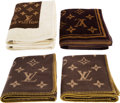 Luxury Accessories:Home, Louis Vuitton Set of Five: Brown Monogram Blankets & Towels. Condition: 2. See Extended Condition Report for Sizes...... (Total: 5 )