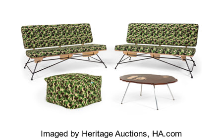 BAPE  ABC Camo (Green), 2013 Two couches, bean cushion sofa, and a table 28 x 48 x 32 inches (71.1 x 121.9 x 81.3 cm)... (Total: 4 Items)