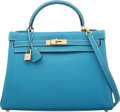"""Luxury Accessories:Bags, Hermès 32cm Blue Jean Togo Leather Retourne Kelly Bag with Gold Hardware. E Square, 2001. Condition: 2. 12.5"""" Widt..."""