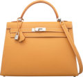 Luxury Accessories:Bags, Hermès 32cm Natural Chamonix Leather Sellier Kelly Bag with Palladium Hardware. E Square, 2001. Condition: 3. 12.5...
