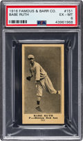 Autographs:Baseballs, 1916 Famous & Barr Co. Babe Ruth #151 PSA EX-MT 6 - The Hobby's Newest & Greatest Example! ...