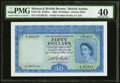 World Currency, Malaya and British Borneo Board of Commissioners of Currency 50 Dollars 21.3.1953 Pick 4a B104 KNB4a PMG Extremely Fine 40...
