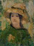 Paintings, Jehan Frison (Belgian, 1882-1961). Woman in Green, 1912. Oil on canvas. 23 x 17 inches (58.4 x 43.2 cm). Signed lower ri...