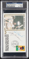 Autographs:Post Cards, 1982 Lou Brock & Rickey Henderson Dual-Signed First Day Cover, PSA/DNA Authentic....