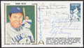 Autographs:Post Cards, 1983 Babe Ruth Multi-Signed First Day Cover (8 Signatures)....