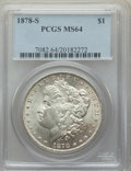 1878-S $1 MS64 PCGS. PCGS Population: (16789/5650). NGC Census: (17172/4967). CDN: $100 Whsle. Bid for problem-free NGC/...