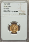 1869 $2 1/2 -- Cleaned -- NGC Details. AU. NGC Census: (7/129). PCGS Population: (20/78). CDN: $700 Whsle. Bid for probl...