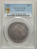 Early Half Dollars, 1807 50C Draped Bust VF30 PCGS. PCGS Population: (170/720 and 0/7+). NGC Census: (80/475 and 0/7+). VF30. Mintage 301,076....