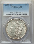1878-CC $1 AU55 PCGS. PCGS Population: (480/27143). NGC Census: (451/18465). CDN: $225 Whsle. Bid for problem-free NGC/P...