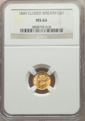 1849 G$1 Closed Wreath MS64 NGC. NGC Census: (105/17). PCGS Population: (51/28). CDN: $1,250 Whsle. Bid for problem-free...