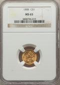 Gold Dollars: , 1888 G$1 MS65 NGC. NGC Census: (96/126). PCGS Population: (163/171). CDN: $890 Whsle. Bid for NGC/PCGS MS65. Mintage 15,501...