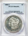 1880-S $1 MS63 Prooflike PCGS. PCGS Population: (3334/8180). NGC Census: (1840/6649). MS63. Mintage 8,900,000