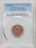 1914-D 1C Brown -- Cleaned -- PCGS Genuine. Unc Details. NGC Census: (1/201). PCGS Population: (1/267). CDN: $1,750 Whsl...