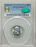 1943-S 1C MS67+ PCGS. CAC. PCGS Population: (2077/99 and 191/0+). NGC Census: (2492/50 and 58/1+). CDN: $175 Whsle. Bid...
