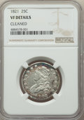 1821 25C -- Cleaned -- NGC Details. VF. NGC Census: (5/149). PCGS Population: (37/248). VF20. Mintage 216,851