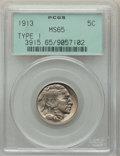 Buffalo Nickels, 1913 5C Type One MS65 PCGS. PCGS Population: (4001/2910). NGC Census: (2716/1761). MS65. Mintage 30,993,520. ...