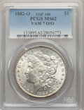 Morgan Dollars, 1882-O/O $1 VAM-7, MS62 PCGS. A Top 100 Variety. This lot will also include the following: 1880-S $1 8/7 Crossbar, VAM... (Total: 3 coins)