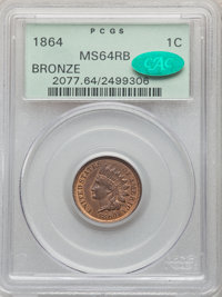 1864 1C Bronze No L MS64 Red and Brown PCGS. CAC. PCGS Population: (481/314). NGC Census: (204/309). CDN: $285 Whsle. Bi...