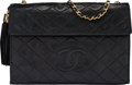 "Luxury Accessories:Bags, Chanel Black Quilted Lambskin Leather Tassel Shoulder Bag. Condition: 3. 10.5"" Width x 7"" Height x 1"" Depth. ..."
