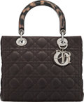 "Luxury Accessories:Accessories, Christian Dior Brown Cannage Quilted Lambskin Leather Medium Lady Dior Bag with Gunmetal Hardware. Condition: 1. 9.5"" ..."