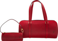 "Louis Vuitton Red Epi Leather Papillon 30 Bag Condition: 2 12"" Width x 6"" Height x 6"" Depth ... (Total: 2..."