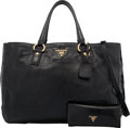 Luxury Accessories:Bags, Prada Set of Two: Black Patent Leather Tote Bag & Wallet. Condition: 4. See Extended Condition Report for Sizes.... ... (Total: 2 )