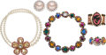 Luxury Accessories:Accessories, Miu Miu Set of Five: Jeweled Earrings, Necklaces & Bracelets. Condition: 2. See Extended Condition Report for Sizes...... (Total: 5 )